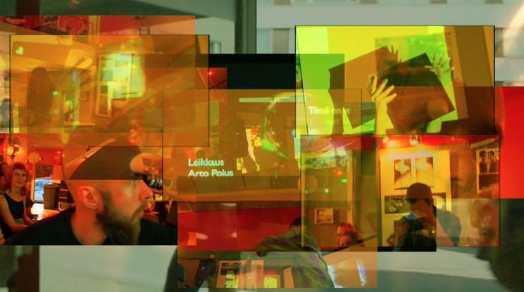 Improvised multimedia performance at bar Vakiopaine, Jyväskylä Finland, Art Leak